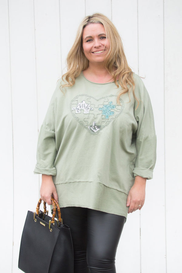 Khaki Jigsaw Heart Top