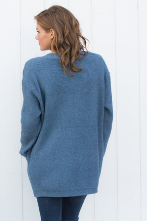 Blue Knit Ribbed Cardigan - Mandy's Heaven