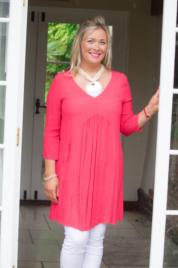 Coral V-Neck Dress/Top