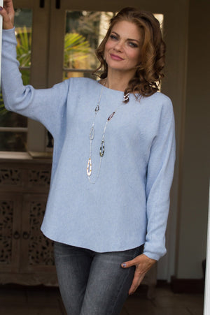 Sky Blue Raised Stitch Ribbed Jumper