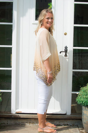 Beige Ombre Animal Print Silk Blouse
