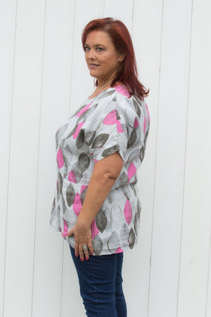Light Grey And Pink Leaf Print Linen Top