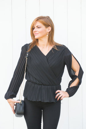 Black Pleated Peplum Blouse