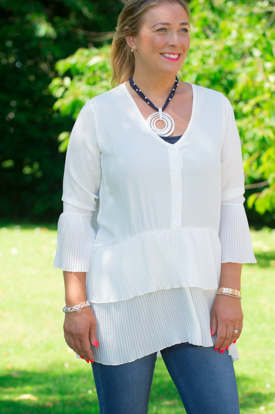 Cream Layered Pleated Blouse