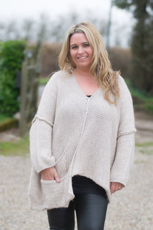 Beige Chunky Knitted Jumper