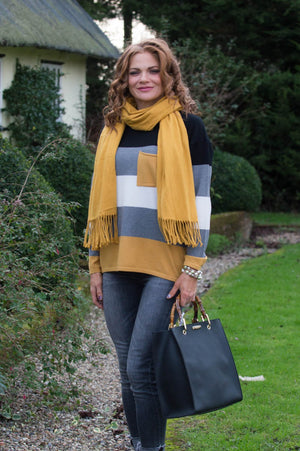 Mustard & Black Colour Block Jumper