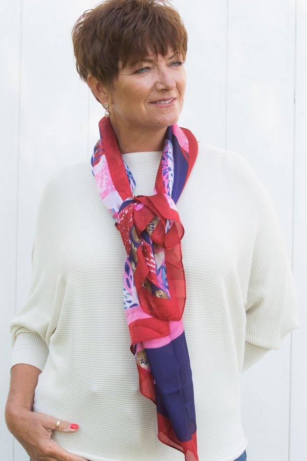 Red, Pink and Purple Floral Scarf