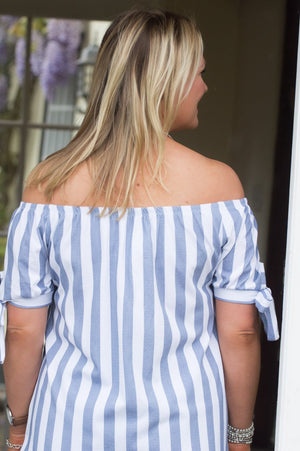 Blue Off The Shoulder Striped Top