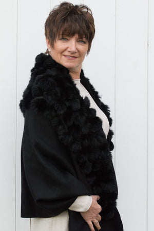 Black Reversible Cashmere Pom Pom Wrap With Pearls - Mandy's Heaven