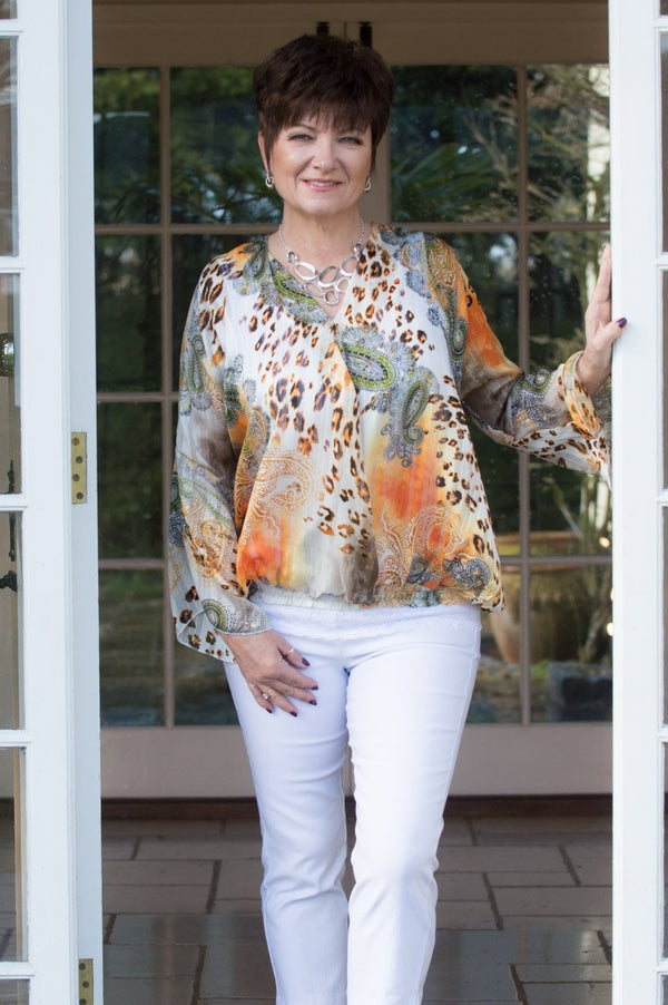 Orange Paisley & Leopard Print Blouse