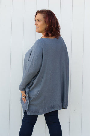 Denim Shredded Detail Jumper Curve