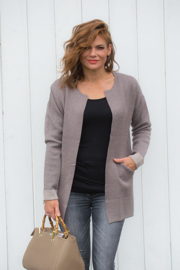 Grey Collarless Cardigan