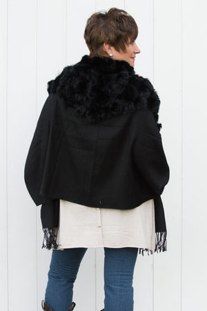 Black Reversible Cashmere Pom Pom Wrap With Pearls
