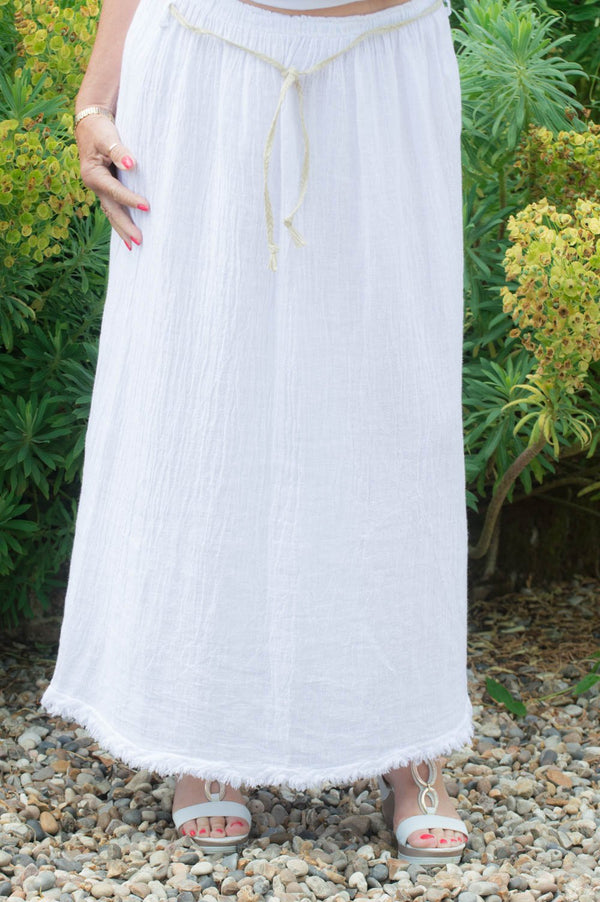 White Linen/Cotton Blend Boho Midi Skirt
