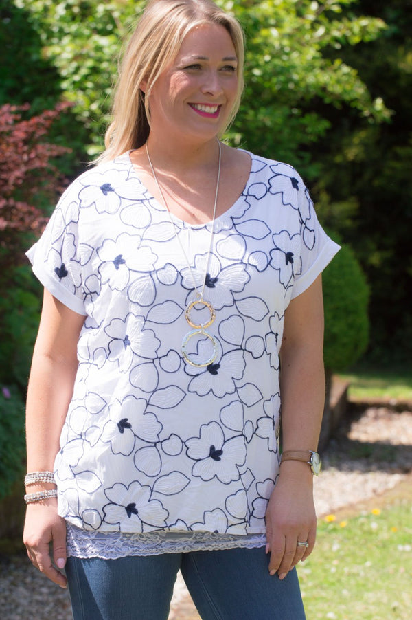 White & Navy Floral Embroidered Top