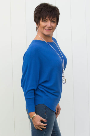 Blue Cashmere Ribbed Jumper - Mandy's Heaven