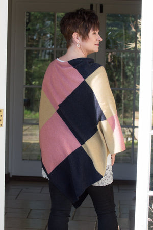 Midnight Blue and Pink Chequered Cashmere Blend Poncho