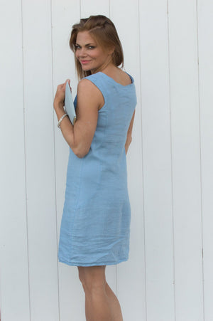Light Blue Linen Sequin Detail Dress