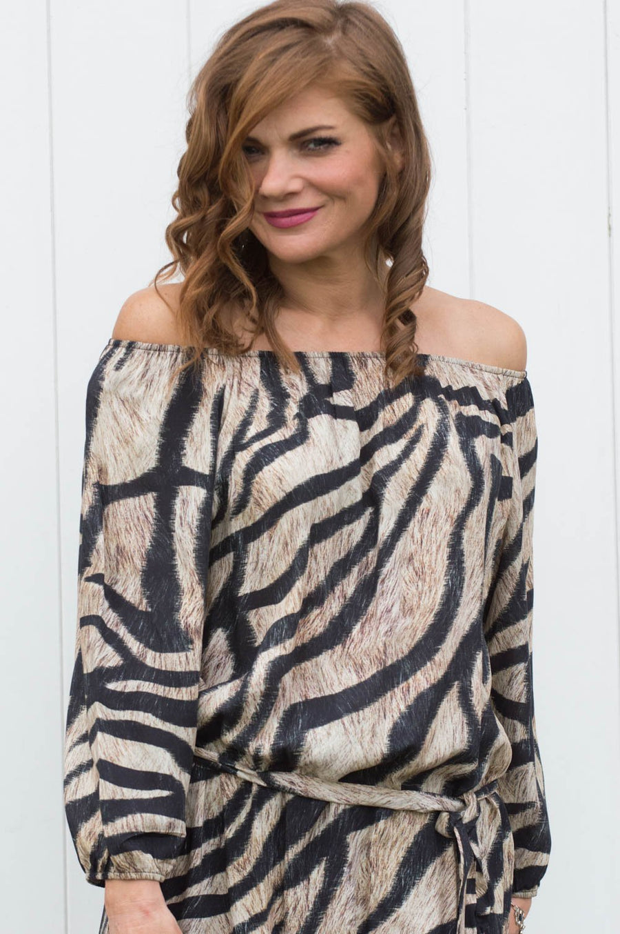 Beige Zebra Print Off The Shoulder Top - Mandy's Heaven