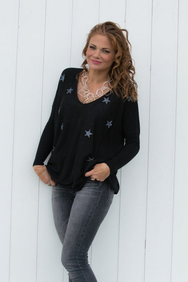 Black Lightweight Star Embellished Jumper - Mandy's Heaven
