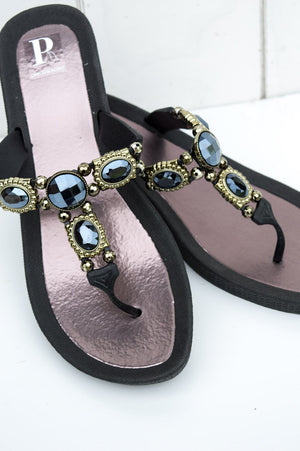 Black Jewelled Apollo Sandal