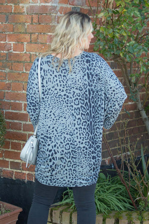 Grey Leopard Print Top Curve