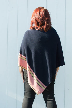Midnight Blue Stripe Cashmere Blend Poncho