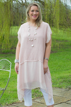 Light Pink Linen & Silk Tunic Curve