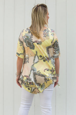 Yellow & Peach Paisley Print Top