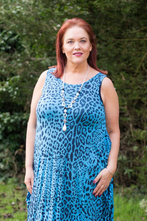 Bright Blue Animal Print Sleeveless Jersey Dress - Mandy's Heaven