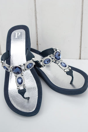 Navy Jewelled Appollo Sandal