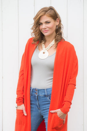 Burnt Orange Pocket Cardigan