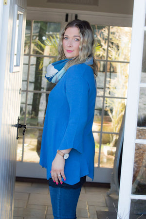 Blue Ribbed Waved Hem Jumper - Mandy's Heaven