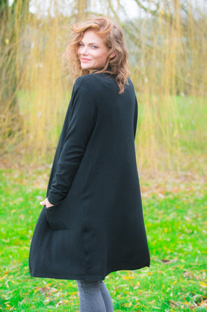 Black Pocket Cardigan