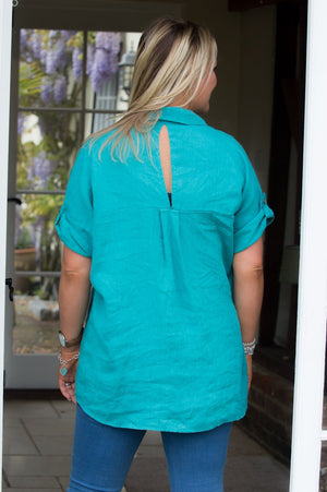 Teal V Neck Linen Shirt