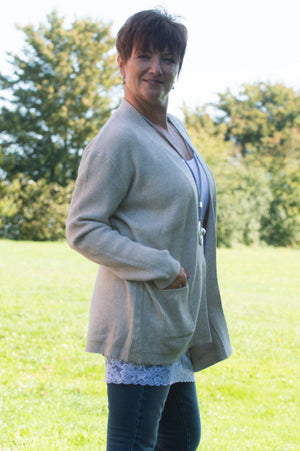 Beige Knit Ribbed Cardigan - Mandy's Heaven