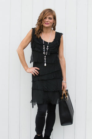 Black Silk Jersey Layered Top/Dress - Mandy's Heaven