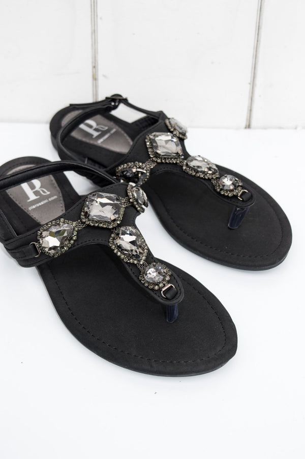 Black Jewelled Elara Flat Sandal
