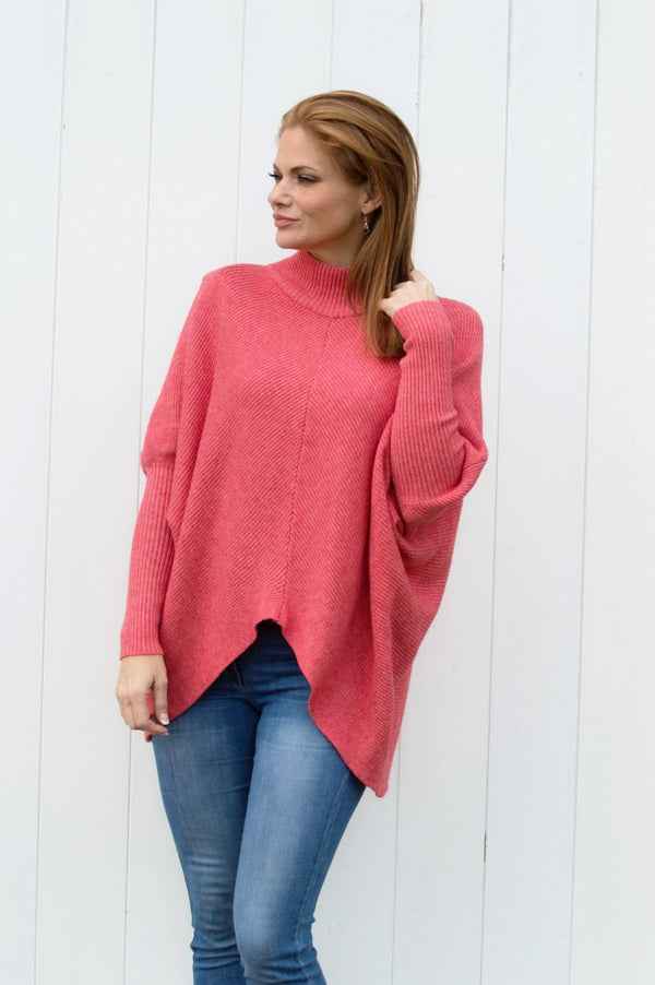 Coral Ribbed Turtle Neck Jumper - Mandy's Heaven
