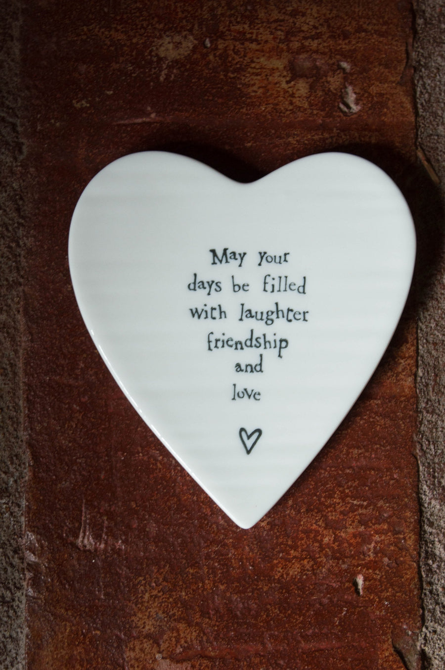 "Porcelain Heart Coaster ""May Your Days Be Filled With Laughter And Friendship"""
