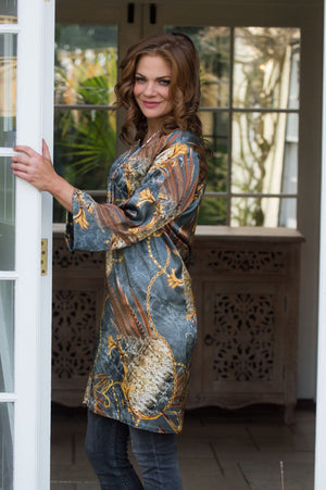 Grey and Gold Chain Print Silk Tunic