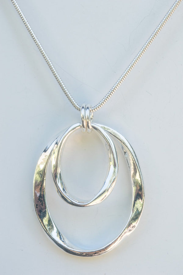Silver Hoop Pendant Necklace
