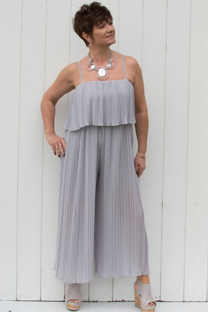Light Grey Pleated Jumpsuit