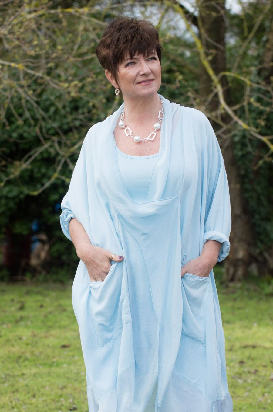 Light Blue Cross-Over Silk Tunic Curve