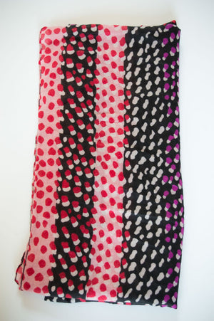 Berry Two-Tone Spot Scarf