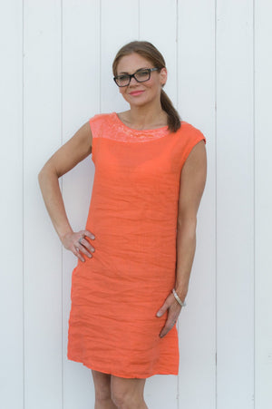 Orange Linen Sequin Detail Dress