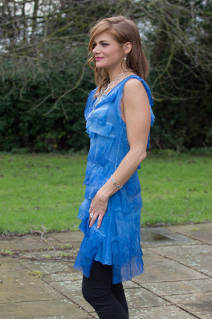 Blue Silk Jersey Layered Top/Dress - Mandy's Heaven