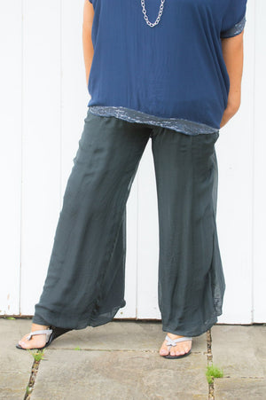 Curve 100% Silk Charcoal Floaty Trousers