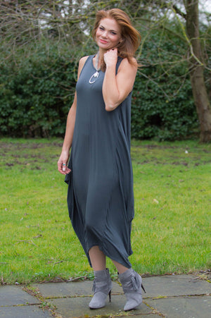 Charcoal Sleeveless Jersey Dress Curve - Mandy's Heaven