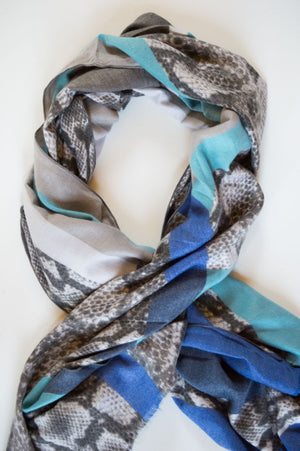 Blue Patched Animal Print Wool Scarf